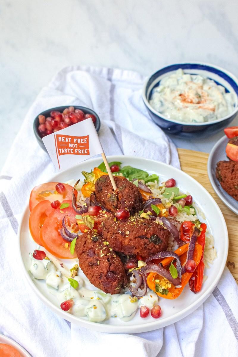 Vegan Koftas with Charred Peppers and Coconut Yoghurt Dip
