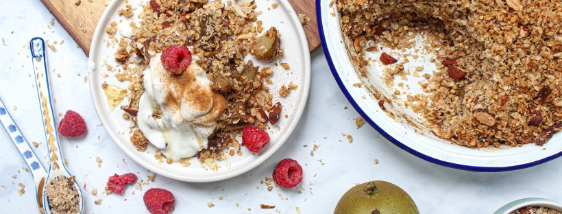 Pear, Cardamom and Almond Crumble