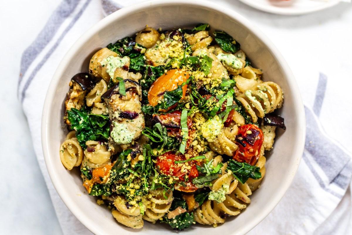 Roasted Aubergine and Tomato Pesto Pasta