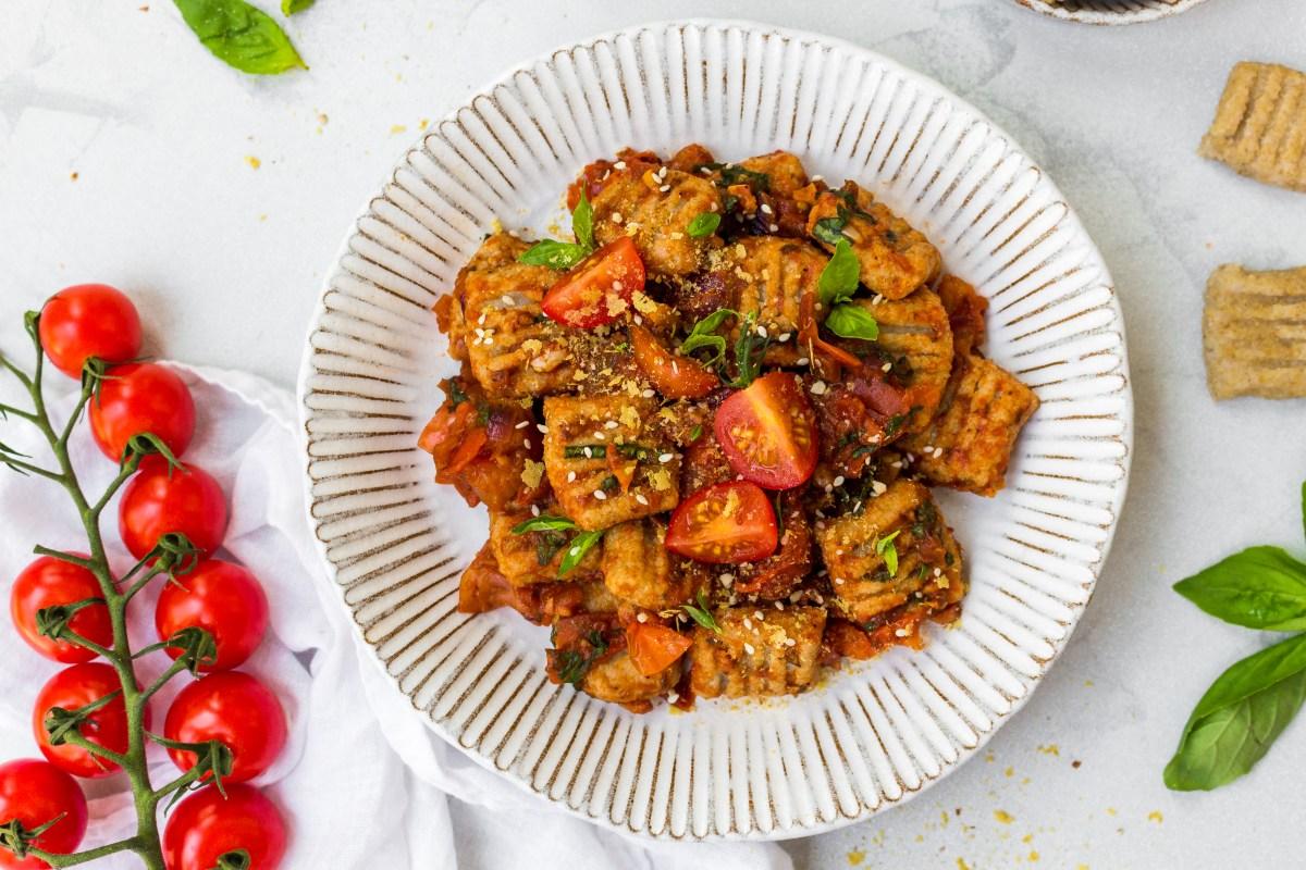 Cauliflower Gnocchi (Vegan and GF) with Balsamic Tomato and Basil Sauce