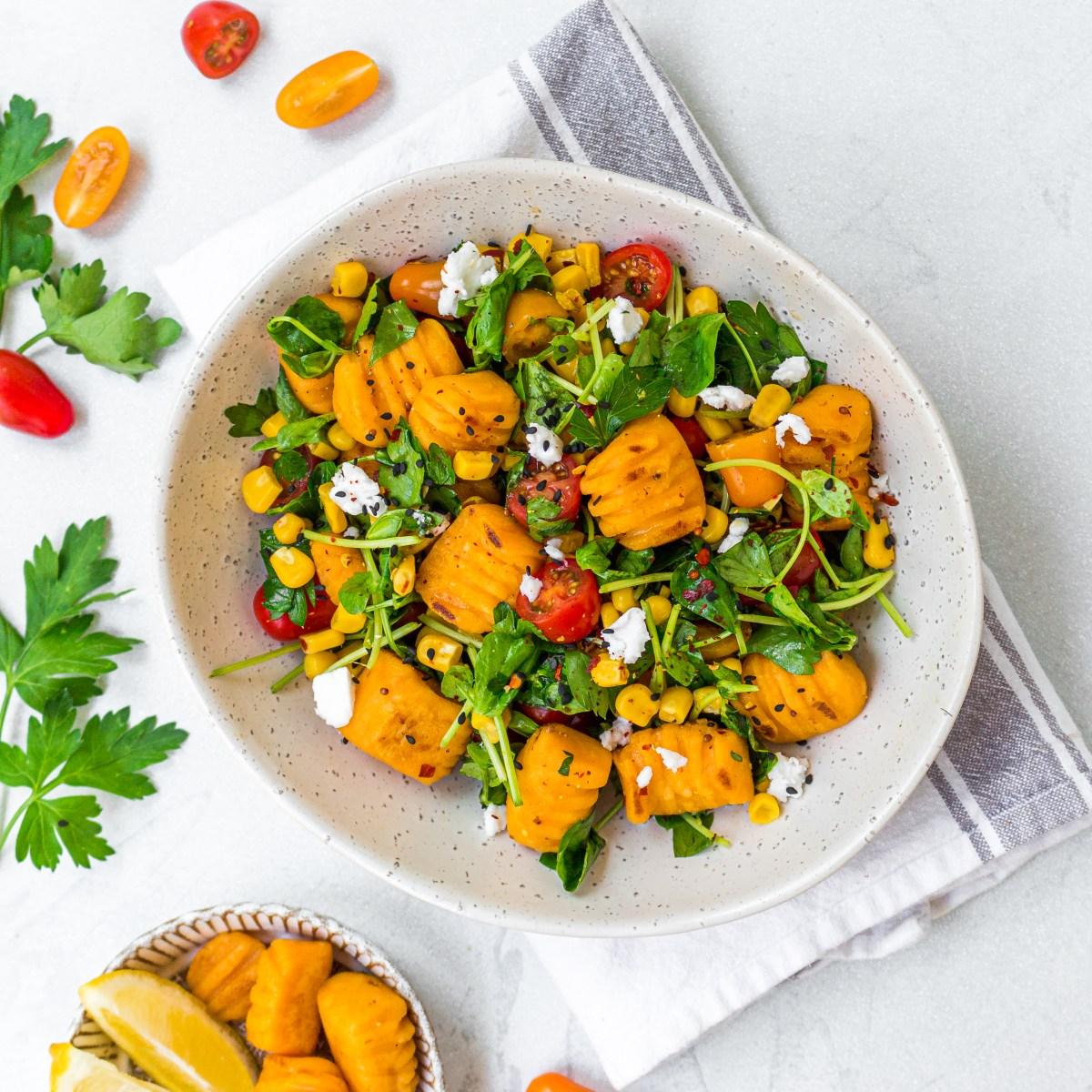 Sweet Potato Gnocchi and Tricolore Gnocchi Salad