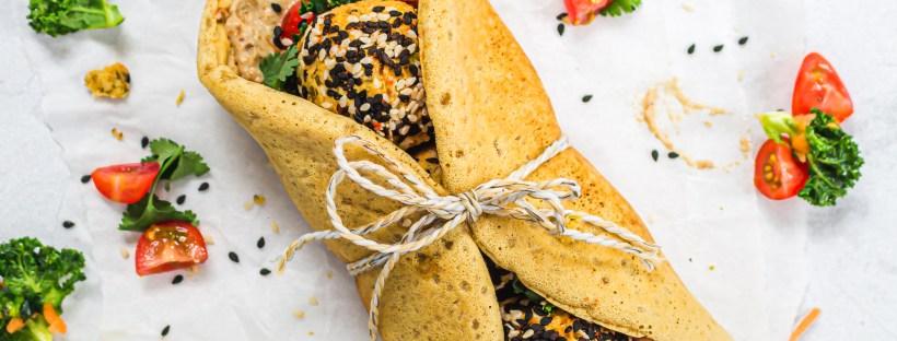 Baba Ganoush Falafel Chickpea Flour Wraps