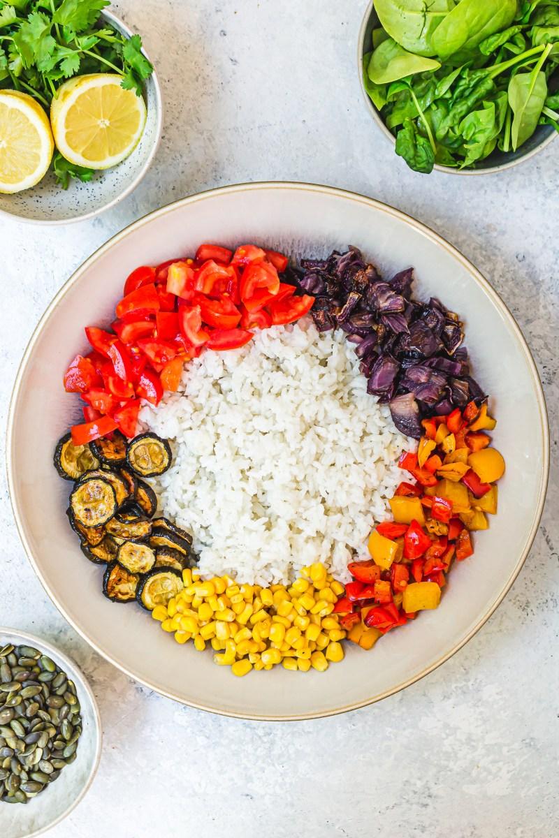 Balsamic Roasted Vegetable Rice Salad