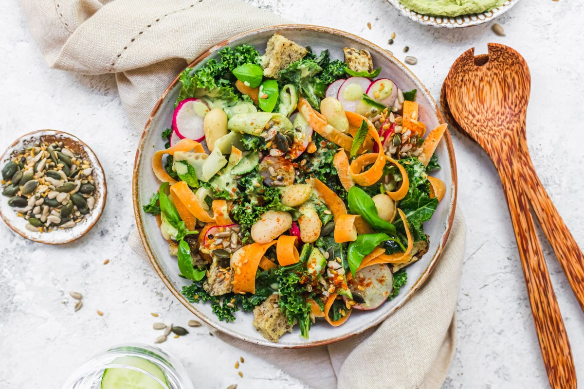 Herby Hummus and Kale Panzanella Salad
