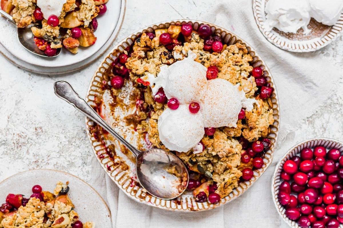 Vegan Apple and Cranberry Crumble