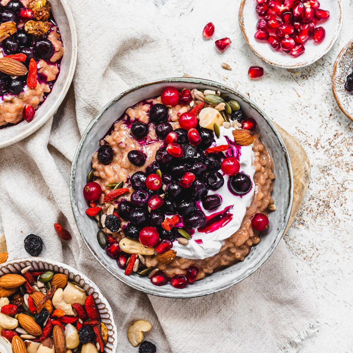 Blueberry Goji and Almond Rice Pudding