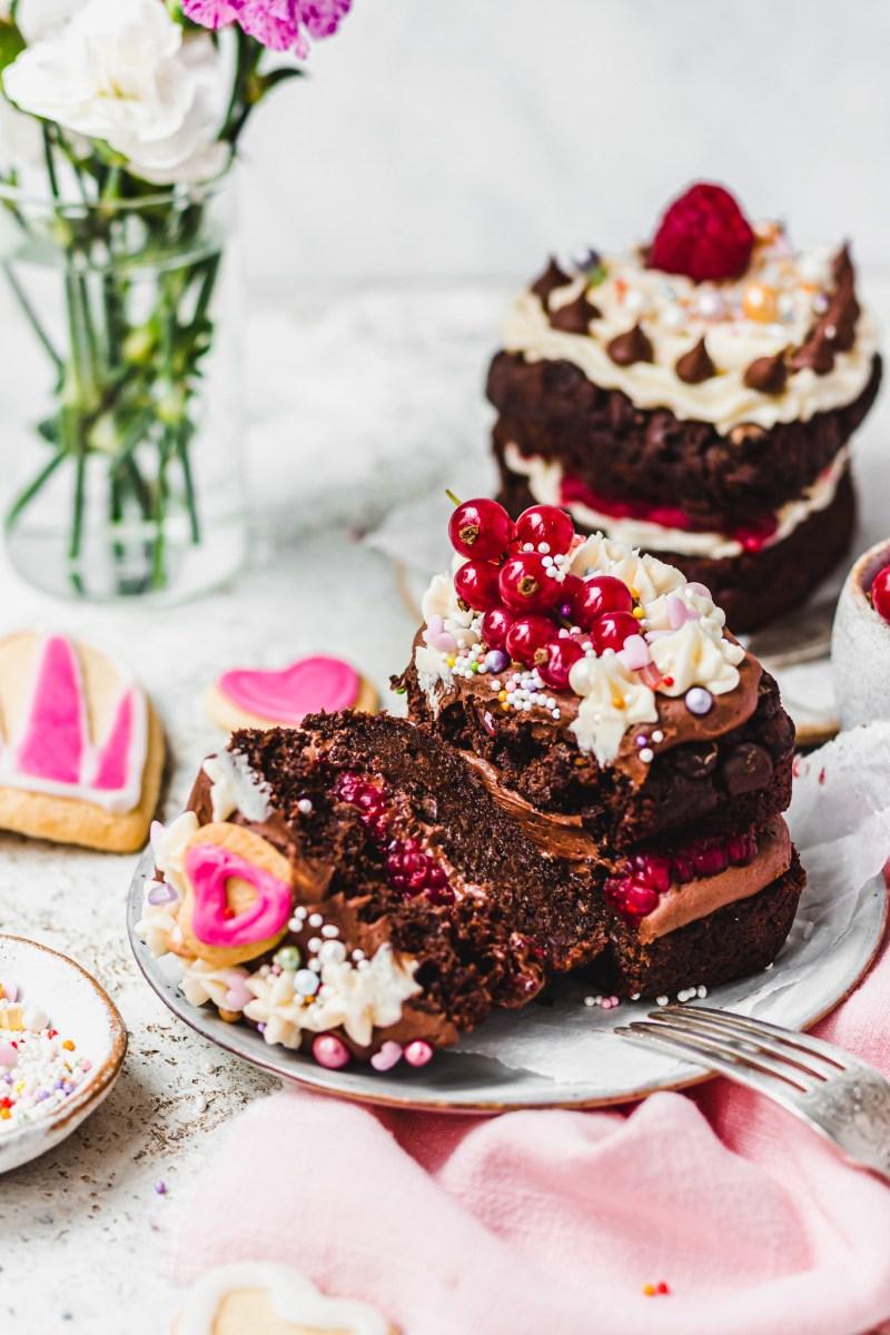 Vegan Double Chocolate Brownie Cake for 2