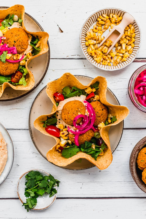 Sun-Dried Tomato Falafel Hummus Taco Bowls