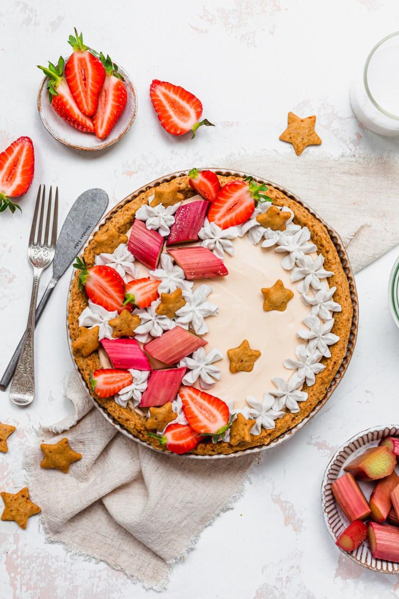 Strawberry and Rhubarb Custard Tart