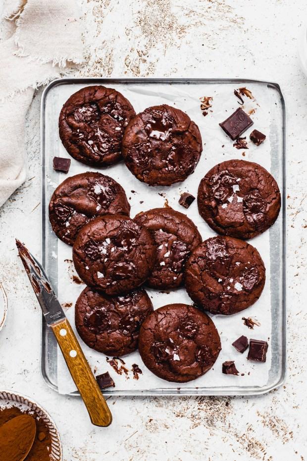 Dark Chocolate Vegan Brownie Cookies (Brookies)