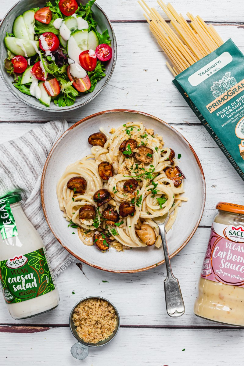 Vegan Carbonara with Marinaded Mushrooms