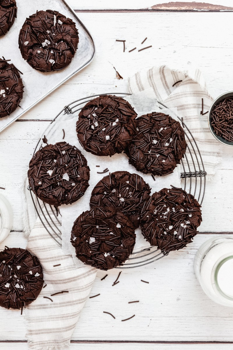 Vegan Chocolate Brownie Sprinkle Cookies