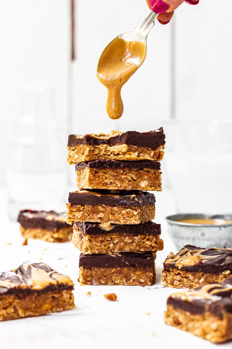 Peanut Butter Chocolate Protein Flapjack Bars