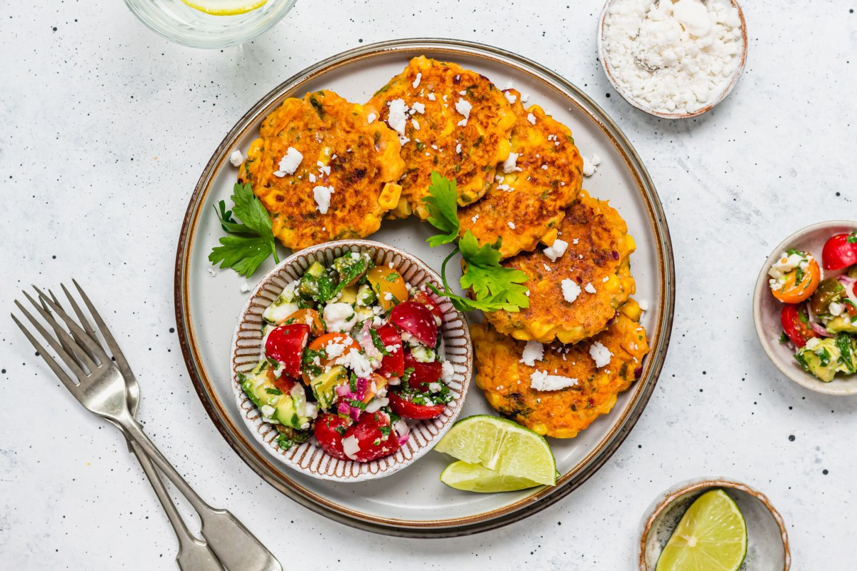 """Sweetcorn Fritters with Avocado, Tomato and """"Feta"""" Salad Sweetcorn Fritters with Avocado, Tomato and """"Feta"""" Salad"""
