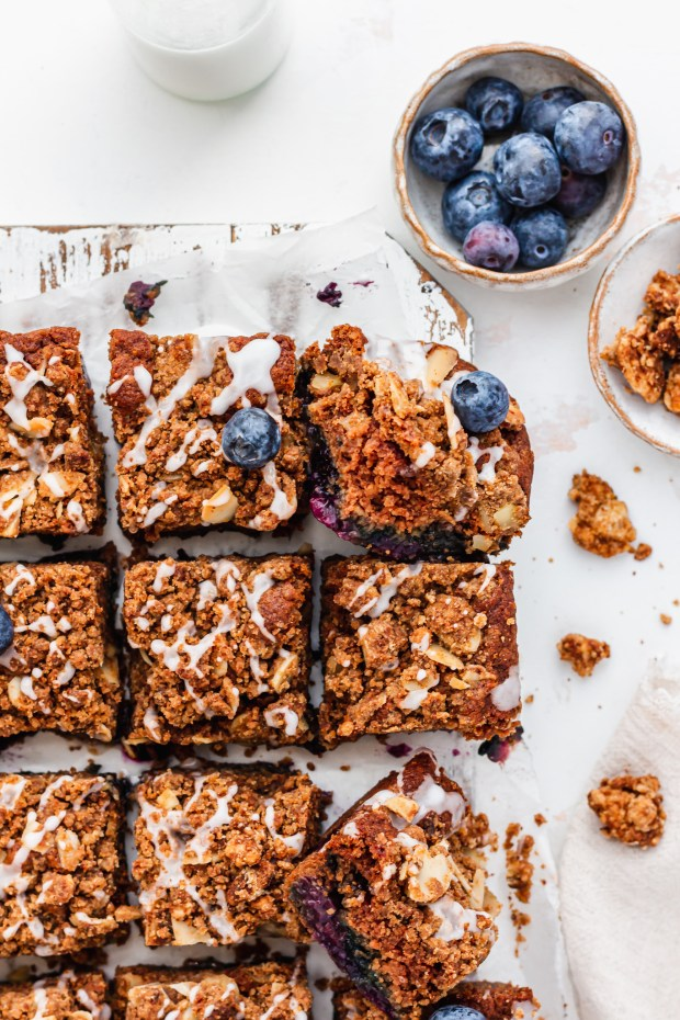 Blueberry Streusel Cake on a wooden board