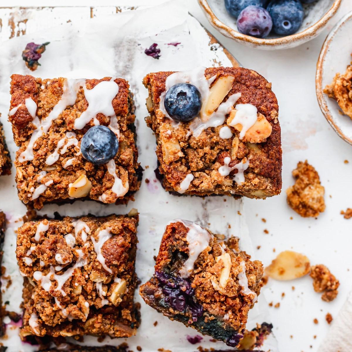 Blueberry Streusel Cake square close up