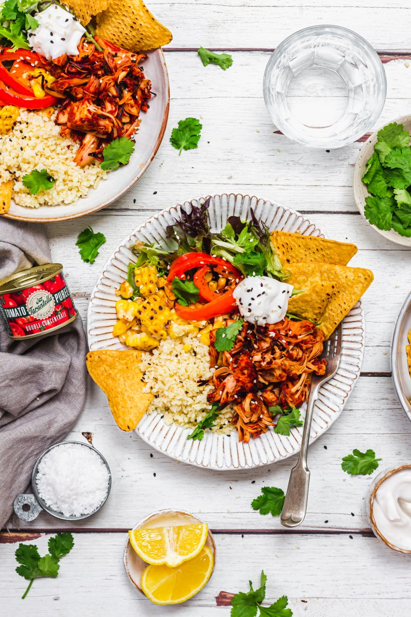 Chipotle Jackfruit Bowls with Charred Peppers and Corn