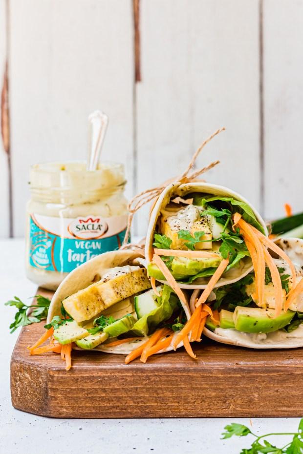 Tofu Veggie Wraps with Tartare Sauce side on shot