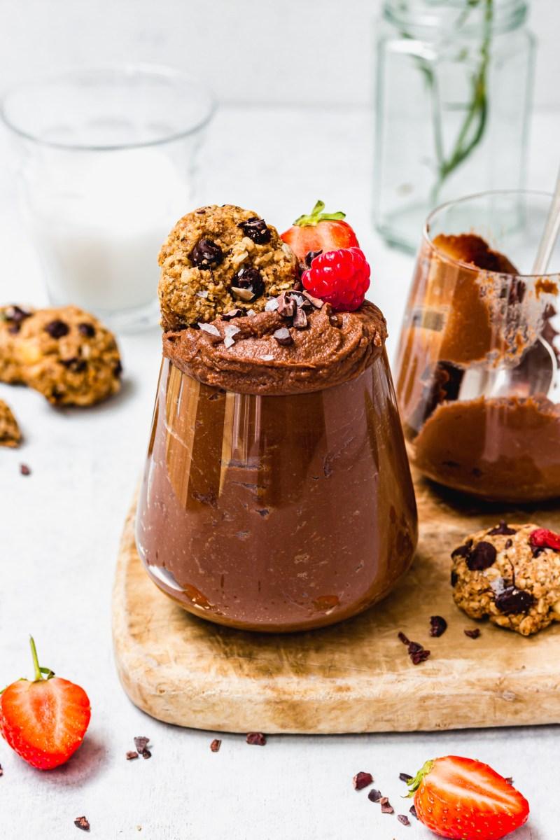 Vegan Chocolate Hummus in a glass jar