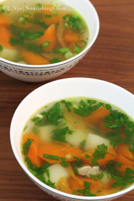 carrot, potato, pork soup