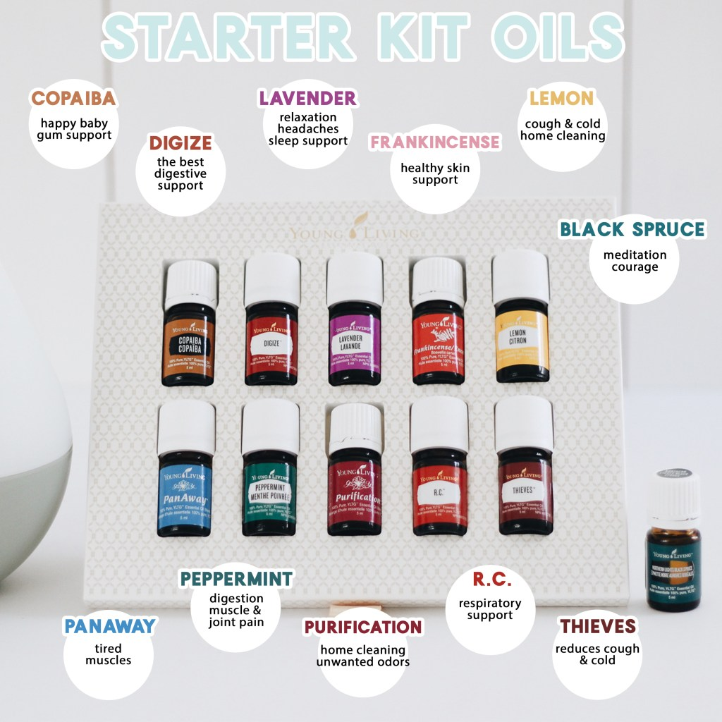 The Young Living Starter Kit comes with 11 essential oils + an awesome diffuser, 2 sample packets of Ningxia red, thieves waterless hand purifier, informational cards, sample packets, and tons of info to help you get started. Let's talk about the oils you will get in more detail!