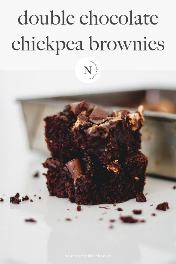 Gooey, rich and delicious double chocolate chickpea brownies that are gluten free, refined sugar free, and easy! Packed with protein and healthy fats, these brownies make a great snack.