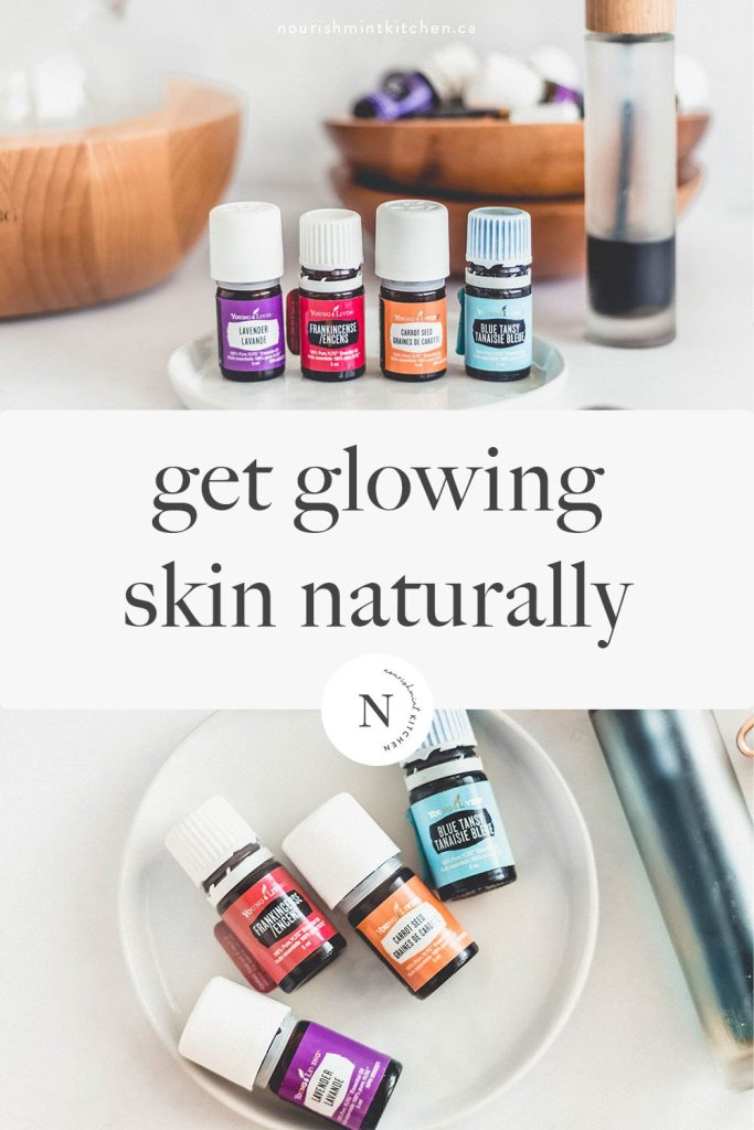 How to get glowing skin naturally in the summertime. This DIY oil serum features carrot seed and other 100% pure essential oils to nourish and protect the skin, leaving you with glow-y and healthy skin.