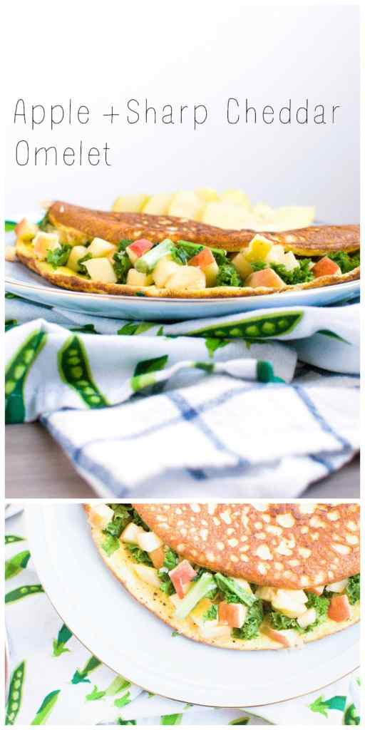 Apple and Sharp Cheddar Omelet | via www.nourishnutritionblog.com | Enjoy the best of fall with this delicious and super simple omelet stuffed with delicious crisp apples, sharp cheddar cheese, and dark greens