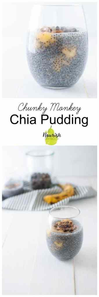 Chunky Monkey Chia Pudding | fiber-filled chia seeds, peanut butter, banana, and chocolate | www.nourishnutritionblog.com