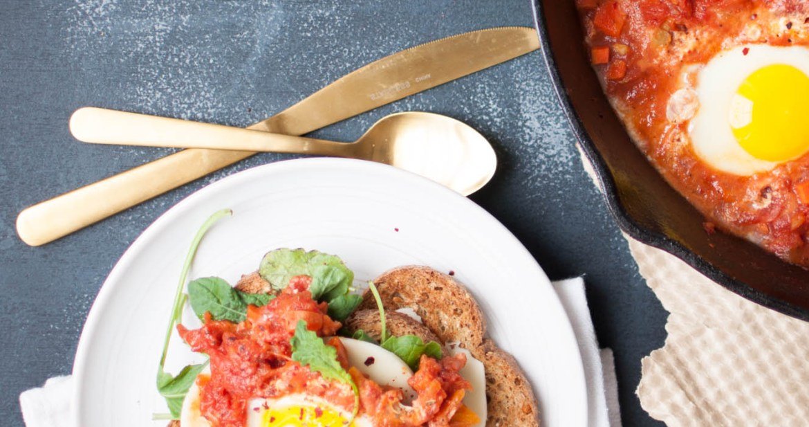 South African spiced Shakshouka plated