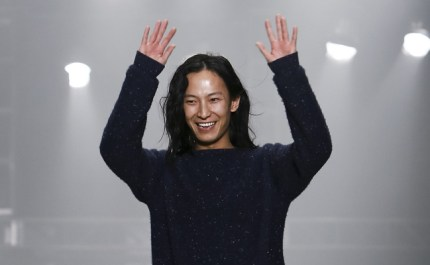 NEW YORK, NY - FEBRUARY 09: Designer Alexander Wang appears on the runway at the Alexander Wang fall 2013 fashion show during Mercedes-Benz Fashion Week at The Cunard Building on February 9, 2013 in New York City. (Photo by Brian Ach/Getty Images)