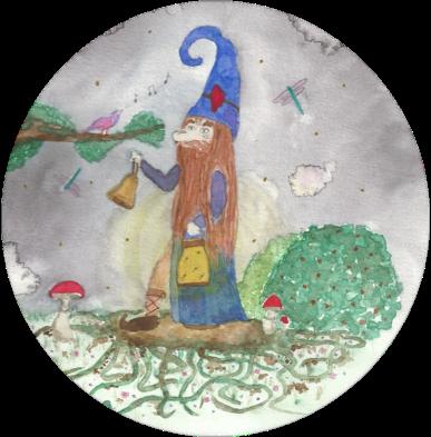 Peinture à l'aquarelle, représentant Estredor, le Lutin de la Nuit.
