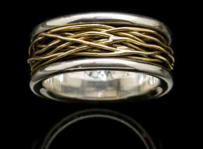 Silver Ring with Yellow Gold Wire Wrap-r42y18k