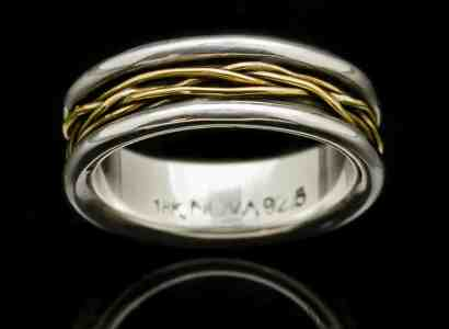 Silver Ring with Yellow Gold Wire Wrap-r42ysm