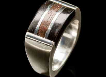 Silver Wood Ring-r285
