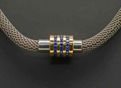 Silver Chain with Yellow Gold, Sapphire Pendant (PN97-sm)