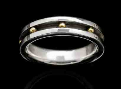 Silver Ring with Yellow Gold Spheres-r196