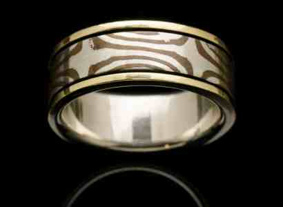 Silver Mogume Gane Ring with Yellow Gold-r272