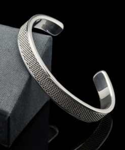 Sterling Silver Mesh Design Bangle Bracelet (BR118)