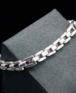 Sterling Silver 925 with Rhodolite/Blue Topaz Bracelet (BR81)