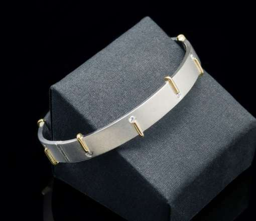 18k yellow gold & Cubic zirconia with Sterling Silver 925 bracelet (BR89)