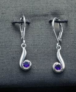 Sterling Silver Earrings with Amethyst (ER102-1)