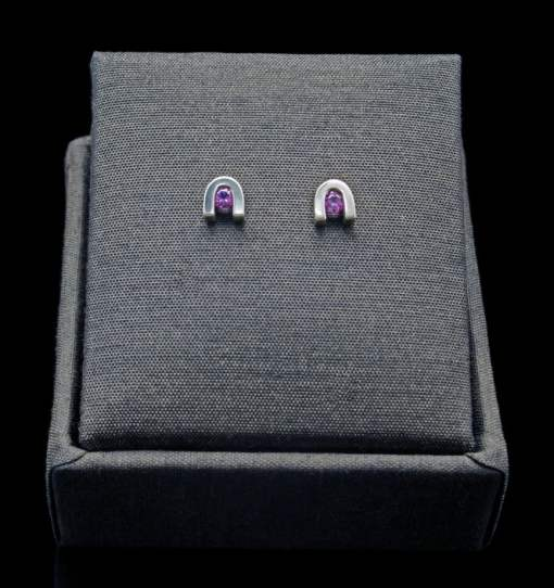 Sterling Silver Earrings with Round Cut Amethyst (ER60-1)
