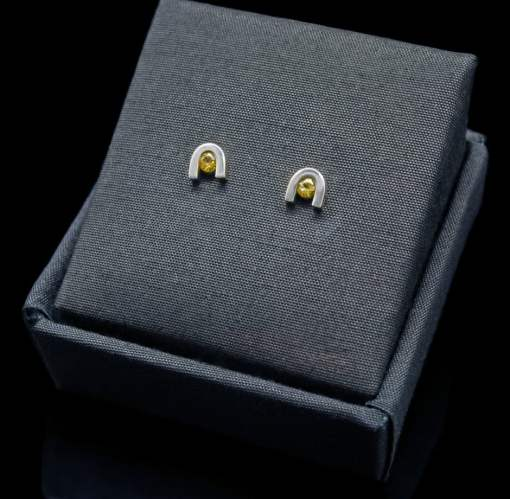 Sterling Silver Earrings with Round Cut Yellow Sapphire (ER60-23)