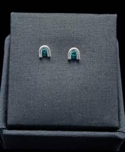 Sterling Silver Earrings with Round Cut Created Emerald (ER60-25)
