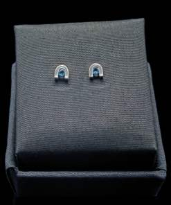 Sterling Silver Earrings with Round Cut Blue Topaz (ER60-4)