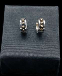 Sterling Silver Earrings with 18k Yellow Gold (ER71)