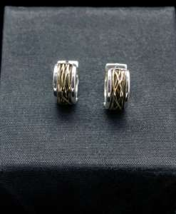 Sterling Silver Earrings with 18k Yellow Gold (ER73-Y-lg)