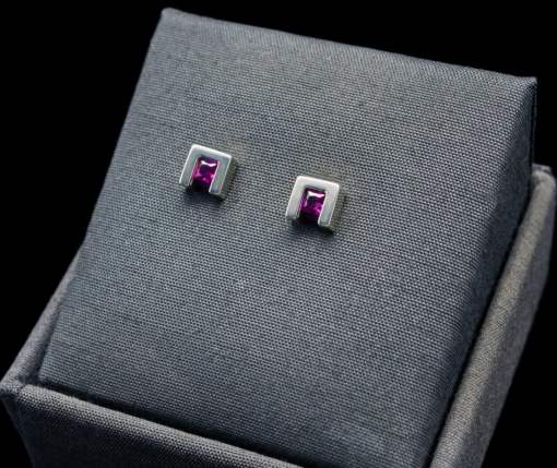 Princess Cut Ruby Earrings with Sterling Silver (ER75-8)