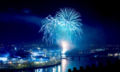 Fireworks display over the Foyle.